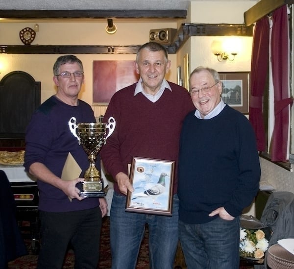 Runner up at the Sportsman FC Bob McKie flanked by Tom Riddle & Rod Adams