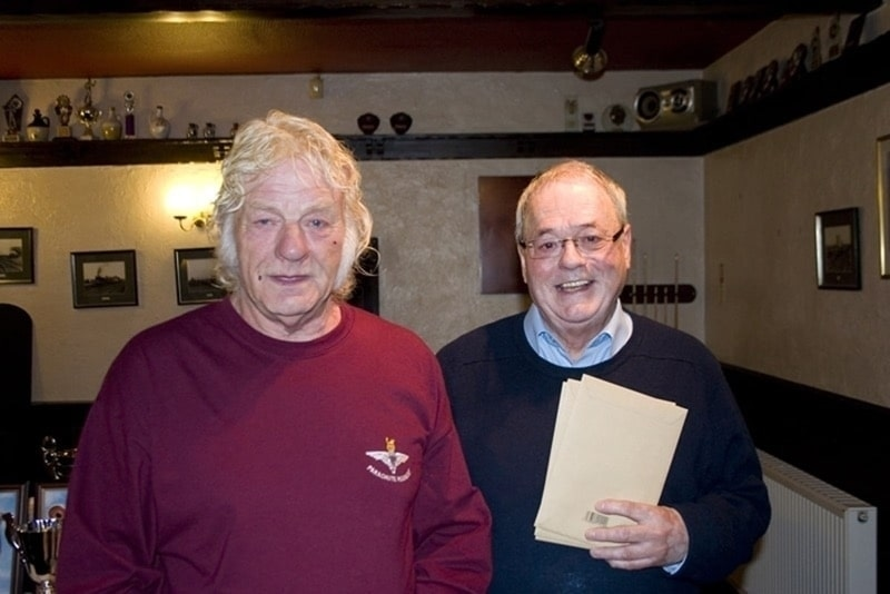 Barrie Blackett of Buttonknowle 5th Sportsman FC Ancenis pictured with Rod Adams